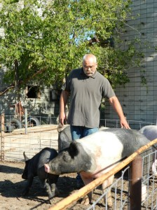 Amos Hinton with his project's pigs. Photo courtesy of the First Nations Development Institute