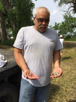 Amos Hinton, director of the Ponca Tribe's Agricultural Program, holding Ponca gray and red corn seed