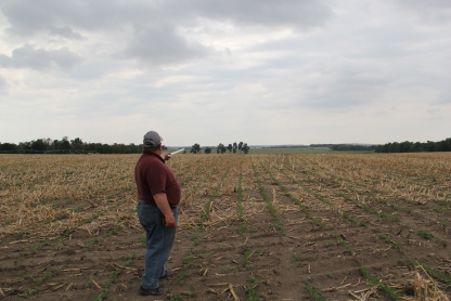 Art Tanderup in his field, pointing to the fence row where the Keystone XL pipeline would cut through, along the path of the 1877 Ponca Trail of Tears