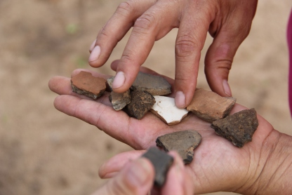 pottery shards, created shortly after relocation, found in the fields at Hannah Farm