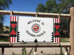 Entrance to Tesuque Pueblo. Photography is not allowed within the Pueblo, and we had to receive permission from the governor and tribal council to take and publicize the photos of the garden. Photo by Elizabeth Hoover