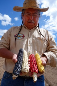Clayton Brascoupe with four colors of traditional corn. Photo courtesy of Seed: The Untold Story