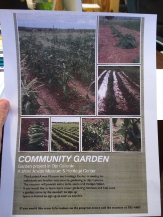 Community garden flier. Photo by Elizabeth Hoover