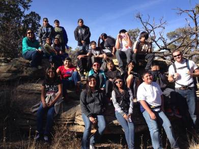 Zuni youth hiking as part of the DY Mesa program. Photo courtesy of ZYEP