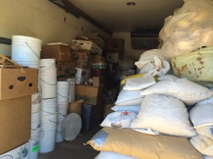 Truck containing seed waiting to be transferred to the new seed bank. Photo by Elizabeth Hoover