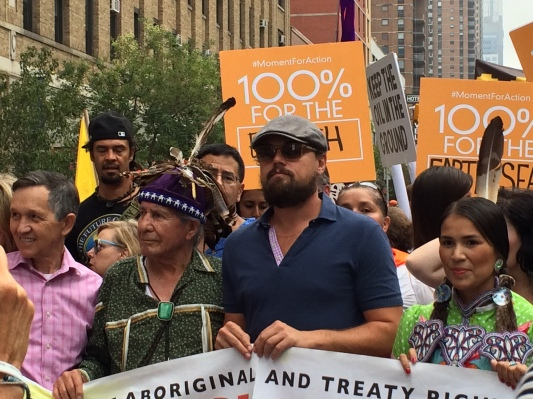 Celebrities like Leonardo DiCaprio, Sting, Mark Ruffalo and Oren Lyons dotted the Indigenous block of the march. While their presence brought attention to the issues, it also brought throngs of celebrity selfie-seekers