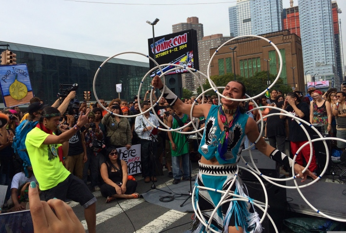 Lakota hip hop artist Frank Waln and hoop dancer Lemhe Sampson took to the Peoples Power Stage at the end of the March. Photo by Elizabeth Hoover