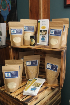 Wheat and mesquite flour for sale inside the farm store. Photo by Angelo Baca