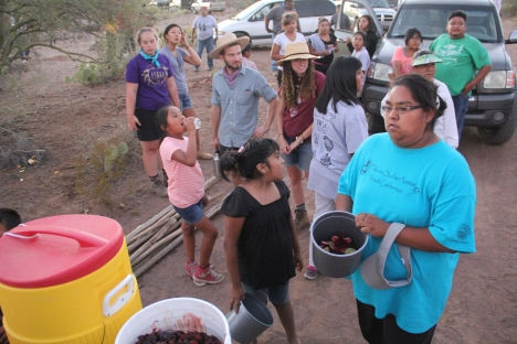 Pouring bahidaj into the communal bucket, which will be taken back to camp and boiled down into syrup.  Photo by Angelo Baca