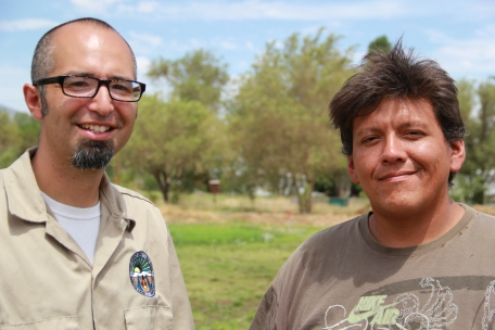 Alan Bacock with garden specialist Joe Miller. Photo by Angelo Baca