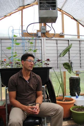 Keith Glidewell, coordinator for the Bishop Paiute Elders Community Garden and aquaponics project. Photo by Angelo Baca