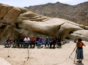 The Cultural Conservancy recording Paiute Salt Trail songs. Photo courtesy of TCC