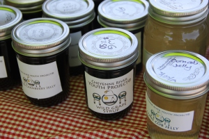 Cheyenne RIver Youth Project canned goods, offered for sale at the farmers market and gift shop. Photo by Angelo Baca