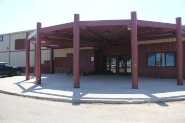 Entrance of the Cheyenne River Youth Program Cokata Wiconi Teen Center, which opened its doors in 2007. Photo by Angelo Baca