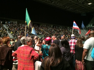 Representatives from over 100 countries marched in with their flags. Photo by Elizabeth Hoover