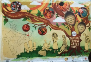 Mural on the wall of the Indigenous Networking room, describing the Indigenous Terra Madre gathering to take place in India, 2015. Photo by Elizabeth Hoover