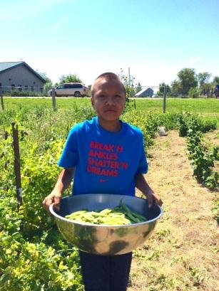 Garden intern Luta, with fresh picked peas