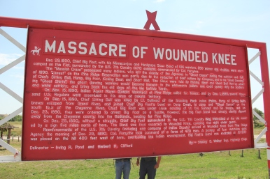 Sign at the Wounded Knee Massacre site (note that