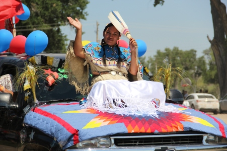 Contestant for Miss Oglala Nation in the parade. Photo by Angelo Baca