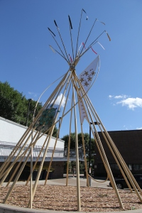 Tipi in front of Little Earth of United Tribes housing complex. Photo by Angelo Baca