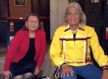 Loretta Afraid Of Bear and Tom Cook. After 40 years on the Pine Ridge frontier, Tom and Loretta have relocated to Cook Road at Akwesasne, but continue their Pine Ridge involvements even from 2,000 miles away. Photo courtesy of Indian Country Today