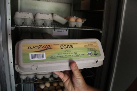 Wozupi eggs, sold a Mazopia, at markets, and as egg shares in the TSA. Photo by Angelo Baca
