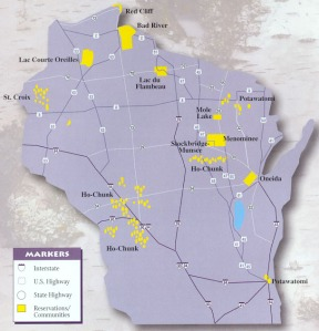 Native communities in Wisconsin. Map courtesy of NativeAmericanEncyclopedia