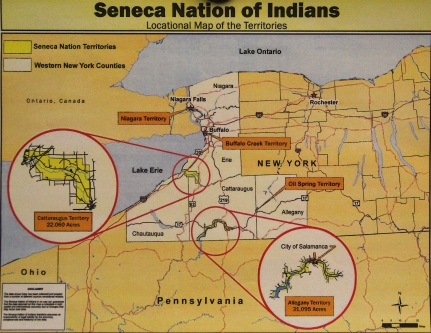 Seneca Nation territories (photo of a map posted on the wall in the William Seneca building)