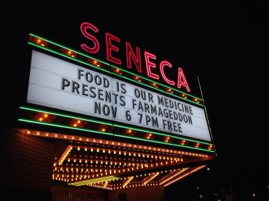 FIOM sponsored a free film series at the Ryan Evans Seneca theatre, a local landmark. Photo courtesy of Food Is Our Medicine