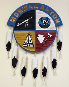 Seal on the wall of SMSC tribal offices. Photo by Elizabeth Hoover