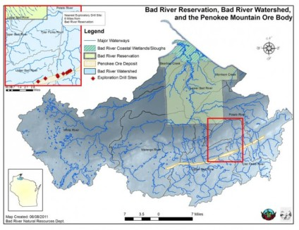 Bad River Reservation, Bad River watershed, and the Penokee Mountain ore body. Photo courtesy of Indian Country Today