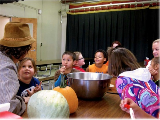 Grew pumpkins at school and made pumpkin pies and pumpkin pancakes. Let kids decide whether they preferred canned pumpkin puree or fresh pumpkins from their school garden. (And Zach is pleased to report that all the kids selected the fresh pumpkin puree). Photo courtesy of the WELRP 2013 annual report