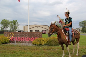 Michael Dahl outside of the Enbridge offices in Bemidji. Photo by Elizabeth Hoover
