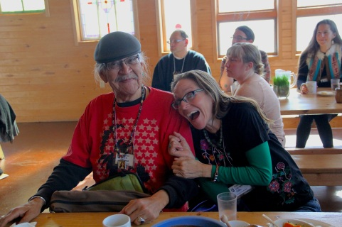 The conference was also a great time to catch up with friends! Pictured here Ernie Whiteman (Arapaho) from the Dream of Wild Health, and Christina Elias from the Mashkiikii Gitigan garden. Photo by Elizabeth Hoover