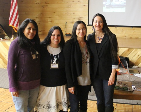 Some of my dear friends who stuck around after my presentation. From L-R; Joslynn Lee (Navajo) who is a postdoctoral researcher at the University of MN Duluth Medical School; Liz Charlebois (Abenaki) who is a nursing student and who also is working on a seed library for the Mt Kearsarge Indian Museum in NH, and Melissa Lewis (Cherokee) who is an Assistant Professor of Biobehavioral Health and Population Science, and who works with the Center of American Indian and Minority Health. Photo by Frank Sage
