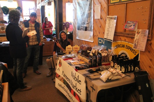 Also set up in the lobby were a number of vendors, some selling crafts or natural salves, and some selling indigenous food products. The Mobile Farmers Market is run through the Intertribal Agriculture Council. You can read more about their products, and the cross country trip that Dan Cornelius took with the market at http://nativefoodnetwork.com/.