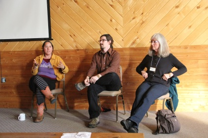 Rowen White (Akwesasne Mohawk who now runs the Sierra Seed Cooperative in CA), Zachary Paige (farmer for the White Earth Land Recovery Project) and Diane Wilson (director of Dream of Wild Health) presented on the Upper Midwest Indigenous Seed keepers Network. The panel talked about the formation of the Network in an effort to help Native communities preserve and utilize their traditional seeds. The Network has conducted a number of seed saving workshops in Native communities, and recently received an ANA (Association for Native Americans) grant to continue this educational work, and to help communities develop a database for their seeds. One of the challenges that the group discussed is remaining a culturally based seed keeper project-- so not just physically keeping the seeds, but also developing a fundamental understanding of the cultural needs of these seeds. Photo by Elizabeth Hoover