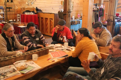 Seed swapping also occurred in the lobby between sessions, where people shared seeds, stories, and growing advice. To the far left is Woodrow White (Ho-chunk) from the Ho-chunk Whirling Thunder garden. To his left is Dan Powless (Ojibway) from the Bad River food sovereignty Project. To his left is Ernie Whiteman (Arapaho) from Dream of Wild Health. To his left is Mike Myers (Seneca) who is currently working for Leech Lake Band of Ojibwe as the Director of the Tribal Development Division. To his right, Rowen White (Mohawk) who is on the board of Seed Savers Exchange, and who is the director of the Sierra Seed Cooperative. To her right is Frank Kutka