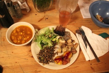 Fabulous meal prepared for us by The Sioux Chef. Squash and hominy soup, buffalo, roasted sunchokes, wild rice flatbread with chokecherry sauce, wild rice salad, and cedar tea. Delicious! Photo by Elizabeth Hoover