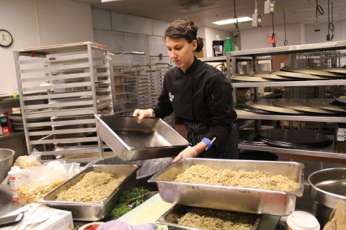 Christine preparing wild rice noodles. Photo by Elizabeth Hoover