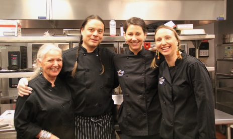 Lorretta Barret Oden, Sean Sherman and his Sioux Chef assistants Christine Werner and Dana Thompson. Photo by Elizabeth Hoover