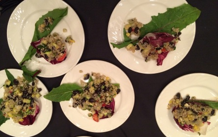 Bisbojgen kojes wabgon: Three Sisters and Friends Salad: Quinoa, Corn, beans, squash, jicama, tomatoes, bell peppers with a rice wine vinaigrette. Photo by Elizabeth Hoover