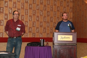 Paul DeMain (Oneida/Ojibway) from Wisconsin and Jerry Jondreau (Ojibway) from Michigan presenting about indigenous maple sugar producers. Photo by Elizabeth Hoover