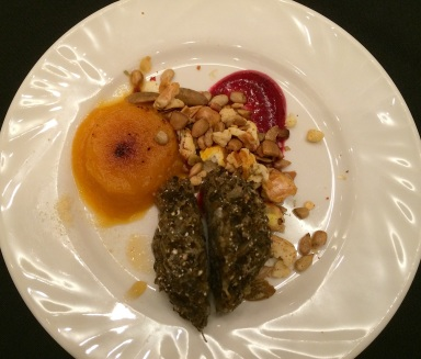 Starter course: rice croquettes with wojapi, squash and seed mix. Photo by Elizabeth Hoover