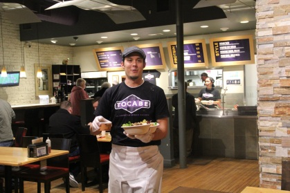 Ben Jacobs bringing us food at Tocabe (photo by Elizabeth Hoover)