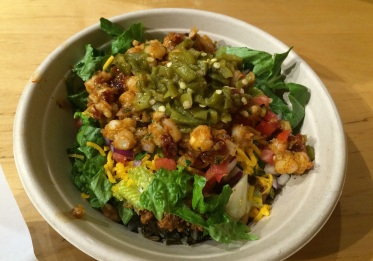 Rice bowl with wild rice, buffalo, green chili, lettuce and Osage Hominy Salsa (photo by Elizabeth Hoover)