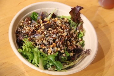 Salad with mixed greens, red quinoa, hominy and purple potatoes (photo by Elizabeth Hoover)