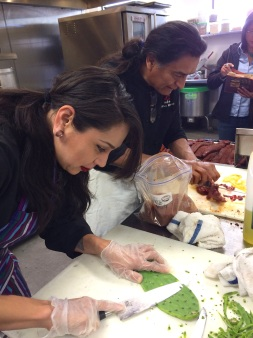 Claudia preparing nopales for salad (Photo by Elizabeth Hoover)