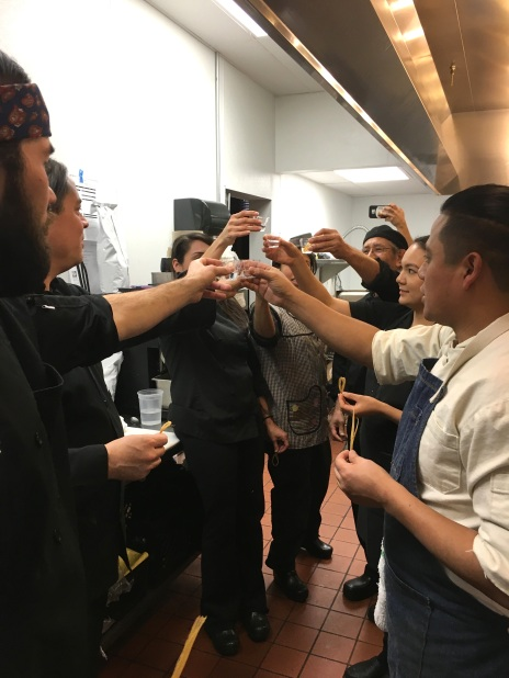 Kitchen crew toasts to a successful evening. Photo by Elizabeth Hoover