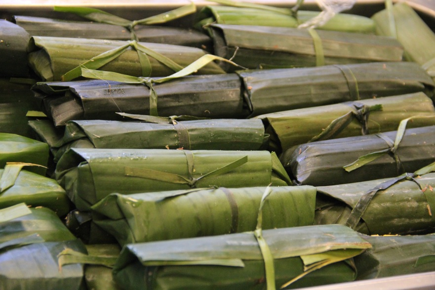 banana leaf wrapped tamales. Photo by Elizabeth Hoover